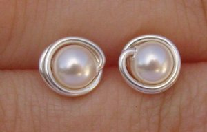 Wire Wrapped 5mm Ivory Swarovski Pearl Sterling Silver Stud Earrings