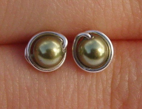 Wire Wrapped 4mm Light Green Swarovski Pearl Sterling Silver Stud Earrings