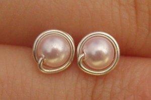 Wire Wrapped 4mm Rosaline Swarovski Pearl Sterling Silver Stud Earrings