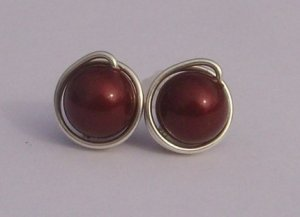 Wire Wrapped 8mm Bordeaux Swarovski Pearl Sterling Silver Stud Earrings