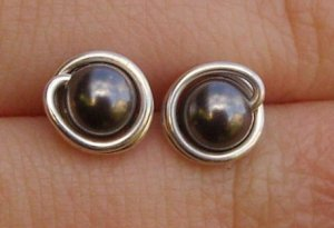 Wire Wrapped 5mm Dark Grey Swarovski Pearl Sterling Silver Stud Earrings