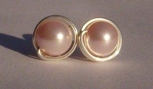 Wire wrapped 8mm Rosaline Swarovski Pearl Sterling Silver Stud Earrings