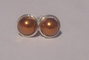 Wire Wrapped 6mm Copper Swarovski Pearl Sterling Silver Stud Earrings