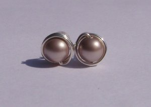 Wire Wrapped 5mm Powder Almond Swarovski Pearl Sterling Silver Stud Earrings