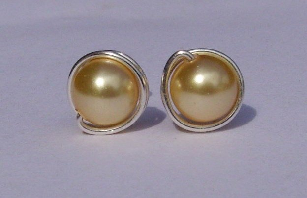 Wire Wrapped 6mm Gold Swarovski Pearl Sterling Silver Stud Earrings