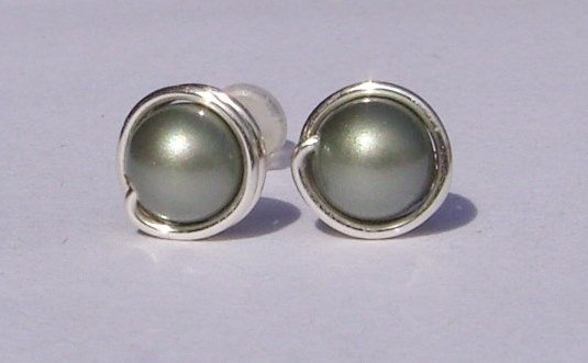 Wire Wrapped 5mm Powder Green Swarovski Pearl Sterling Silver Stud Earrings