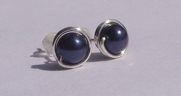 Wire Wrapped 5mm Night Blue Swarovski Pearl Sterling Silver Stud Earrings