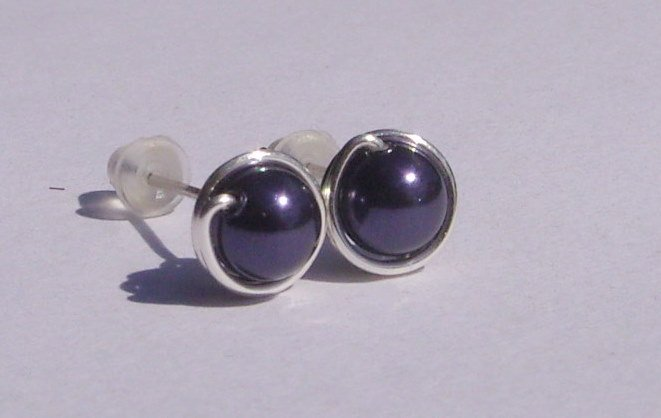 Wire Wrapped 5mm Dark Purple Swarovski Pearl Sterling Silver Stud Earrings