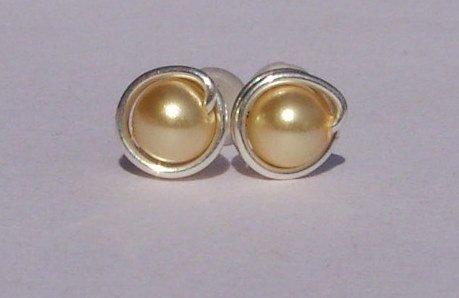 Wire Wrapped 4mm Gold Swarovski Pearl Sterling Silver Stud Earrings