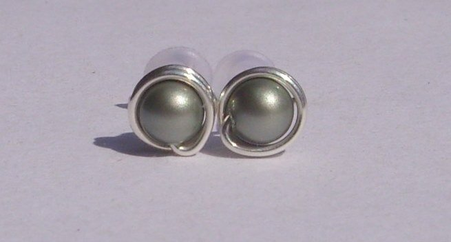 Wire Wrapped 4mm Powder Green Swarovski Pearl Sterling Silver Stud Earrings