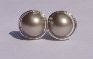 Wire Wrapped 8mm Platinum Swarovski Pearl Sterling Silver Stud Earrings
