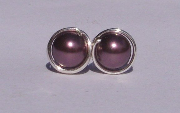 Wire Wrapped 6mm Burgundy Swarovski Pearl Sterling Silver Stud Earrings