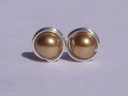Wire Wrapped 5mm Bright Gold Swarovski Pearl Sterling Silver Stud Earrings