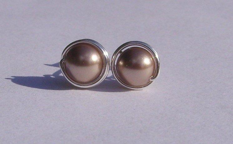 Wire Wrapped 6mm Bronze Swarovski Pearl Sterling Silver Stud Earrings