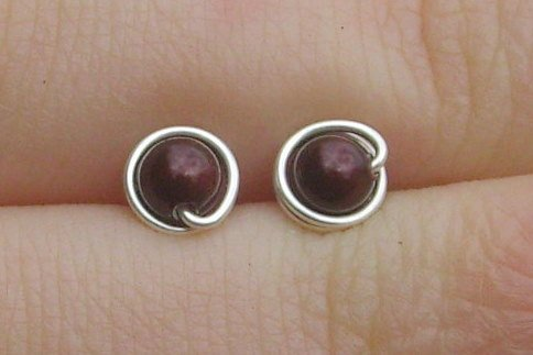 Wire Wrapped 4mm Maroon Swarovski Pearl Sterling Silver Stud Earrings