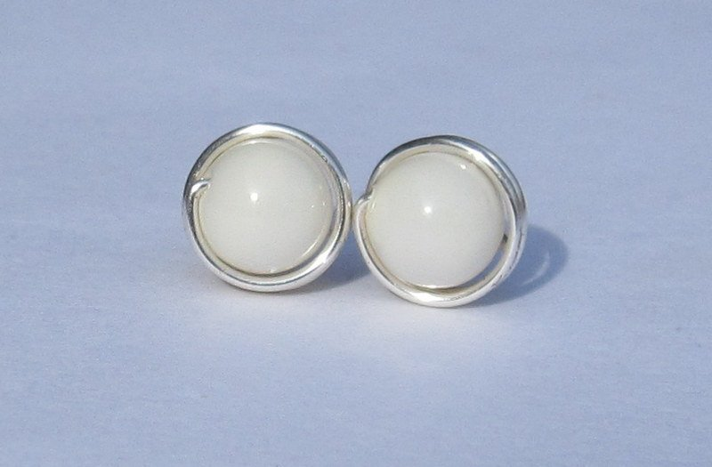 Wire Wrapped 6mm White Ivory Swarovski Pearl Sterling Silver Stud Earrings