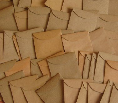 "50 Mini Brown Handmade Recycled Envelopes - 1 7/8"" x 2"""