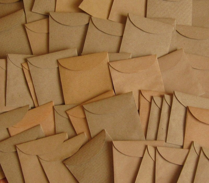 "100 Mini Brown Handmade Recycled Envelopes - 1 7/8"" x 2"""
