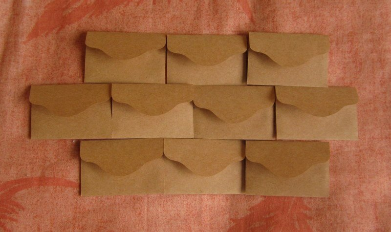 "50 Little Brown Handmade Recycled Envelopes - 2 3/8"" x 1 1/2"""