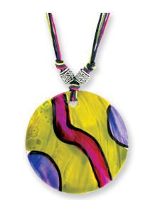 Samba Shell Necklace Handpainted Yellow Multicolored Necklace Hippie Style Retro Mod