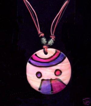 Samba Shell Necklace Multicolored Pink and Purple Retro Mod Necklace