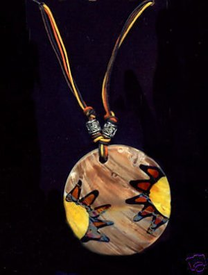 Samba Shell Necklace Handpainted Shell Necklace Hippie Retro Mod Necklace