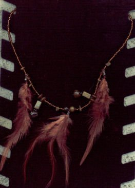 Feather Necklace with beads and Feather Earrings NWOT