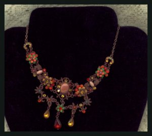 Rhinestone Hippie Necklace or Collar Fall Colors