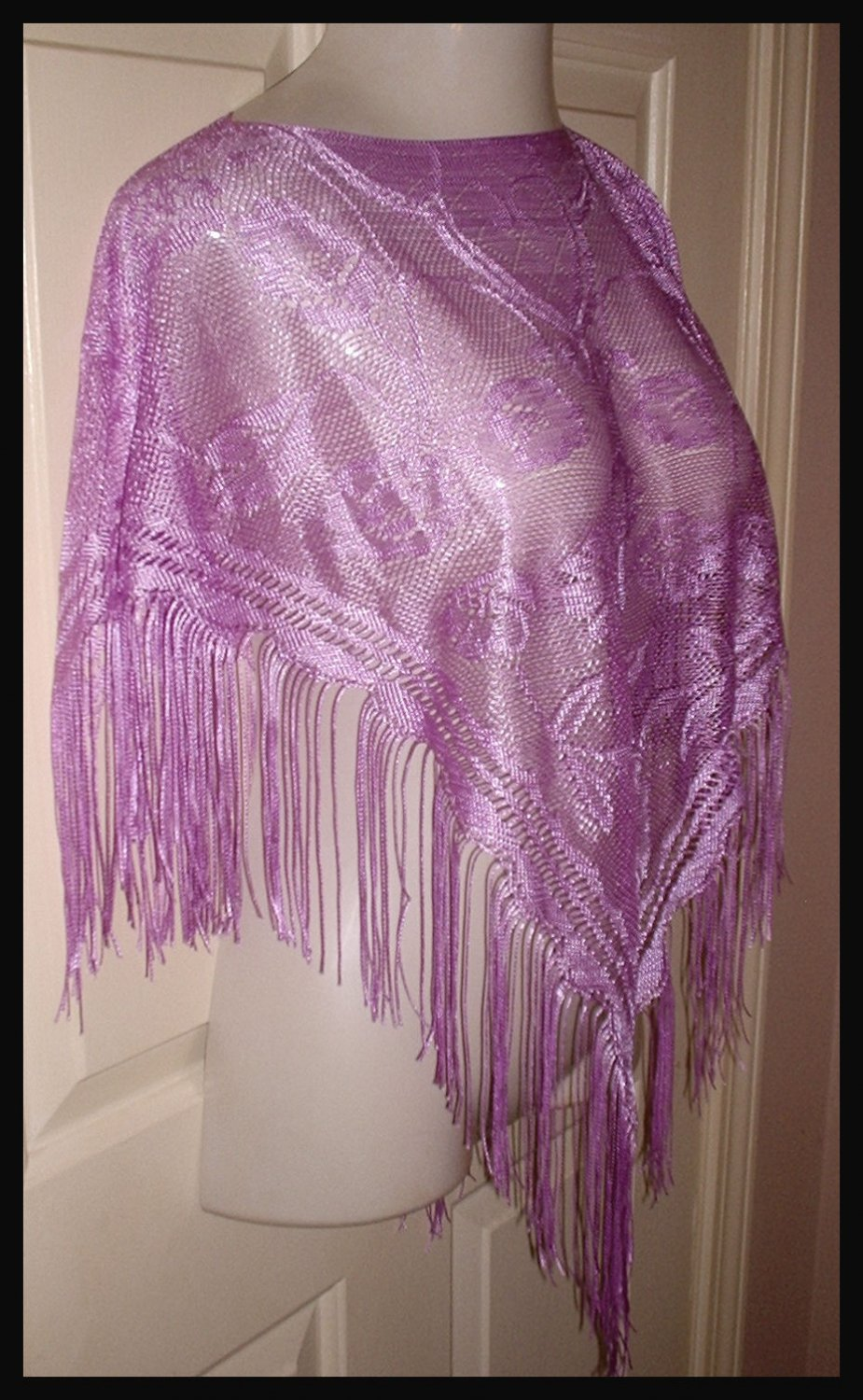Purple Lace Fring Poncho Size 8 by Speechless