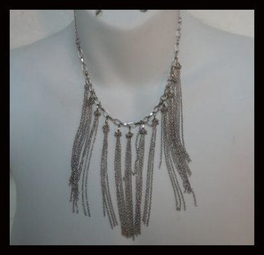 QVC SILVER TONE FRINGE NECKLACE Brand New Item FREE SHIP