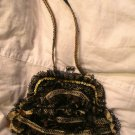 Vtg Gypsy Style Lace Purse, Sequin Silk Jacquard Bag, Purse