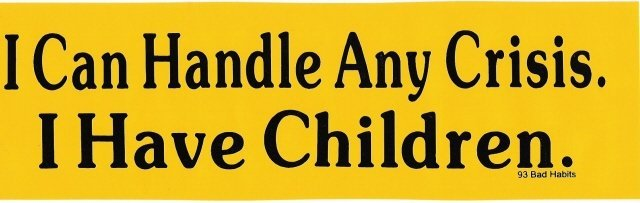 I can handle any CRISIS, I have children! Bumper Sticker
