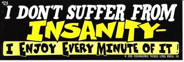I DON'T SUFFER FROM INSANITY I ENJOY EVERY MINUTE OF IT! Bumper Sticker