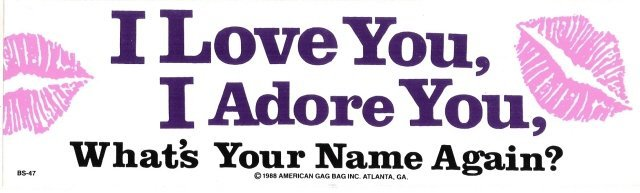 I Love You, I Adore You, What's Your Name Again? Bumper Sticker