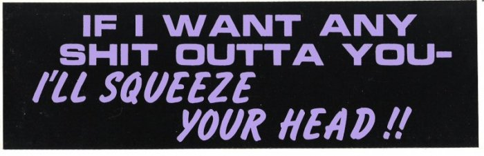 IF I WANT ANY SHIT OUTTA YOU I'LL SQUEEZE YOUR HEAD!! Bumper Sticker