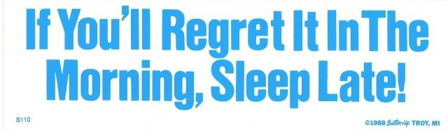 If You'll Regret It In The Morning, Sleep Late! Bumper Sticker