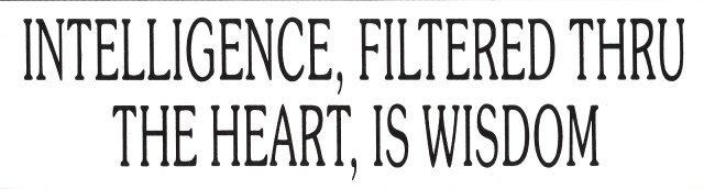 INTELLIGENCE, FILTERED THRU THE HEART, IS WISDOM Bumper Sticker