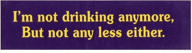 I'm not drinking anymore, But not any less either. Bumper Sticker