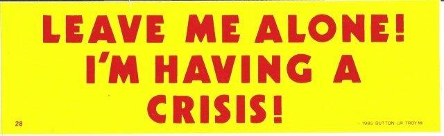LEAVE ME ALONE! I'M HAVING A CRISIS! Bumper Sticker