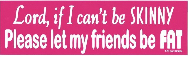 Lord, if I can't be SKINNY Please let my friends be FAT Bumper Sticker
