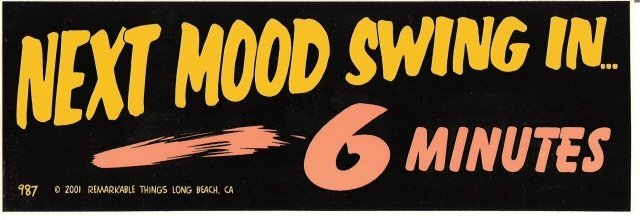 NEXT MOOD SWING IN 6 MINUTES Bumper Sticker