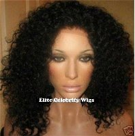 "20""  Full Lace Wig 100% Indian Remy Curly/Deep Wave, #1b (Off Black)"