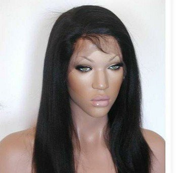 """14"""" Full Lace Wig Indian Remy Yaki Straight...#1B (Off Black)"""