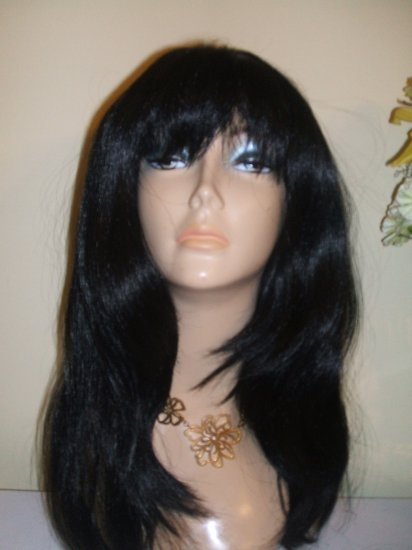 "18"" Layer Style Yaki Straight Synthetic Wig w/ Bang #1(Jet Black)"
