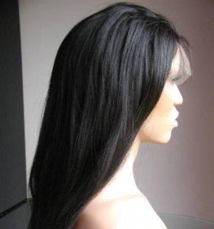 14 Inch Full Lace Wig Yaki Straight, #1 (Jet Black)