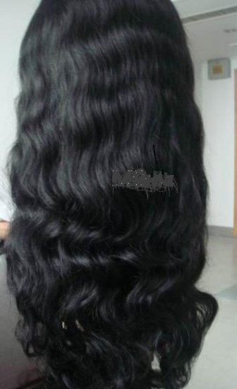 "Full Lace Wig.....16"" 100% Indian Remy Body Wave, #1b(Off Black)"