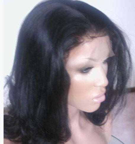 """18"""" Yaki Straight, Full Lace Wig 100% Indian Remy, #1 jet black)"""