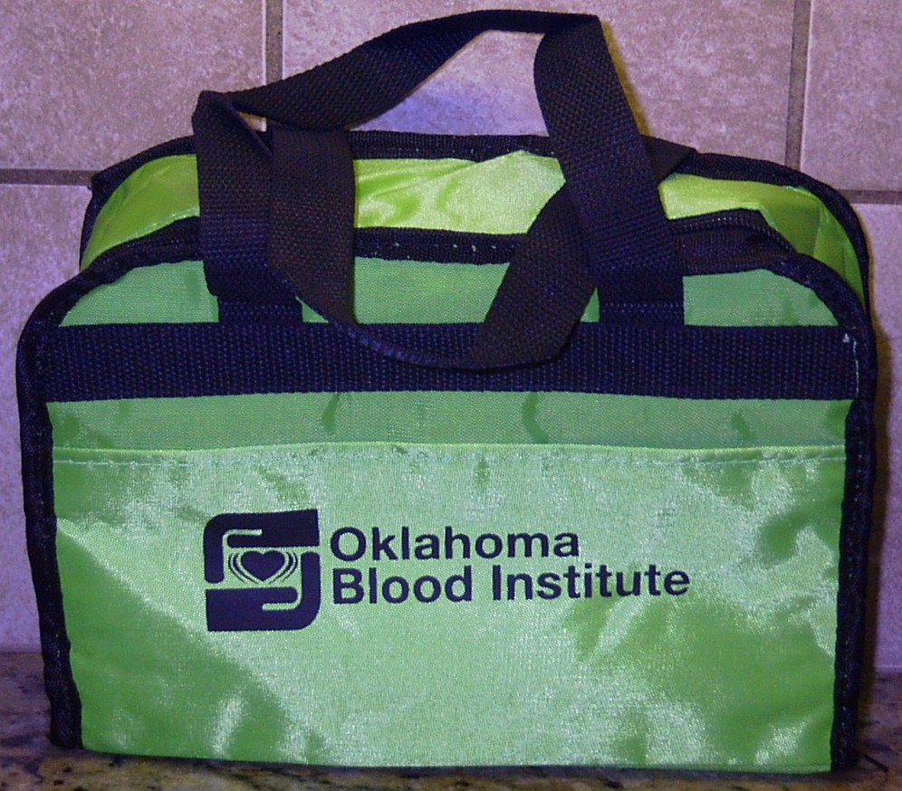 Oklahoma Blood Institute Insulated Lunch Cooler Tote Bag Green Silver Inside NEW