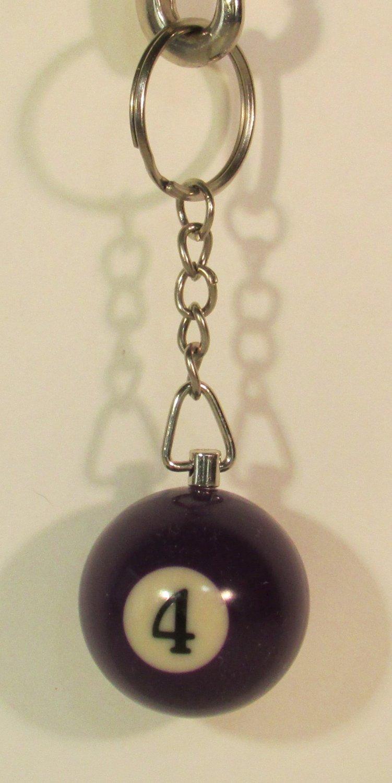1.25 Inch Number 4 Four Mini POOL BALL Billiard Key Chain Ring Keychain NEW