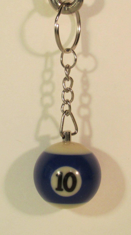 1.25 Inch Number 10 Ten Mini POOL BALL Billiard Key Chain Ring Keychain NEW